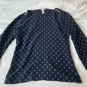 J Crew Navy Silk Anchor Blouse Top Shirt 0